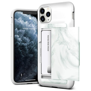 VRS Design Damda Glide Shield iPhone 11 Pro Max Wallet Case - White Marble