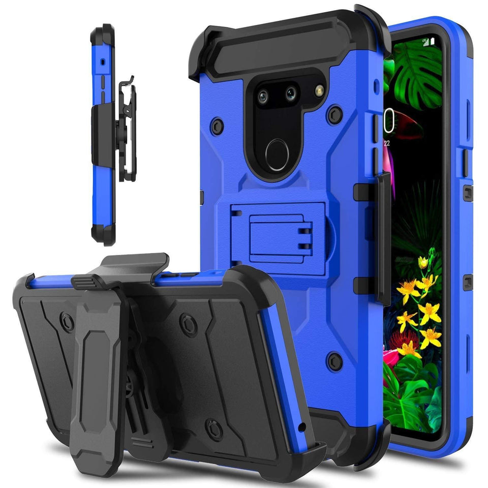 Heavy Duty Shockproof Armor LG G8 ThinQ Case Holster - Blue