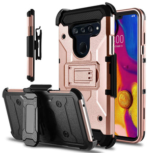 Storm Tank Rugged Armor LG V40 ThinQ Case Holster - Rose Gold