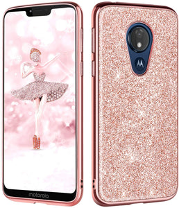 Encrusted Rhinestones Moto G7 Power Case - Electroplated Rose Gold