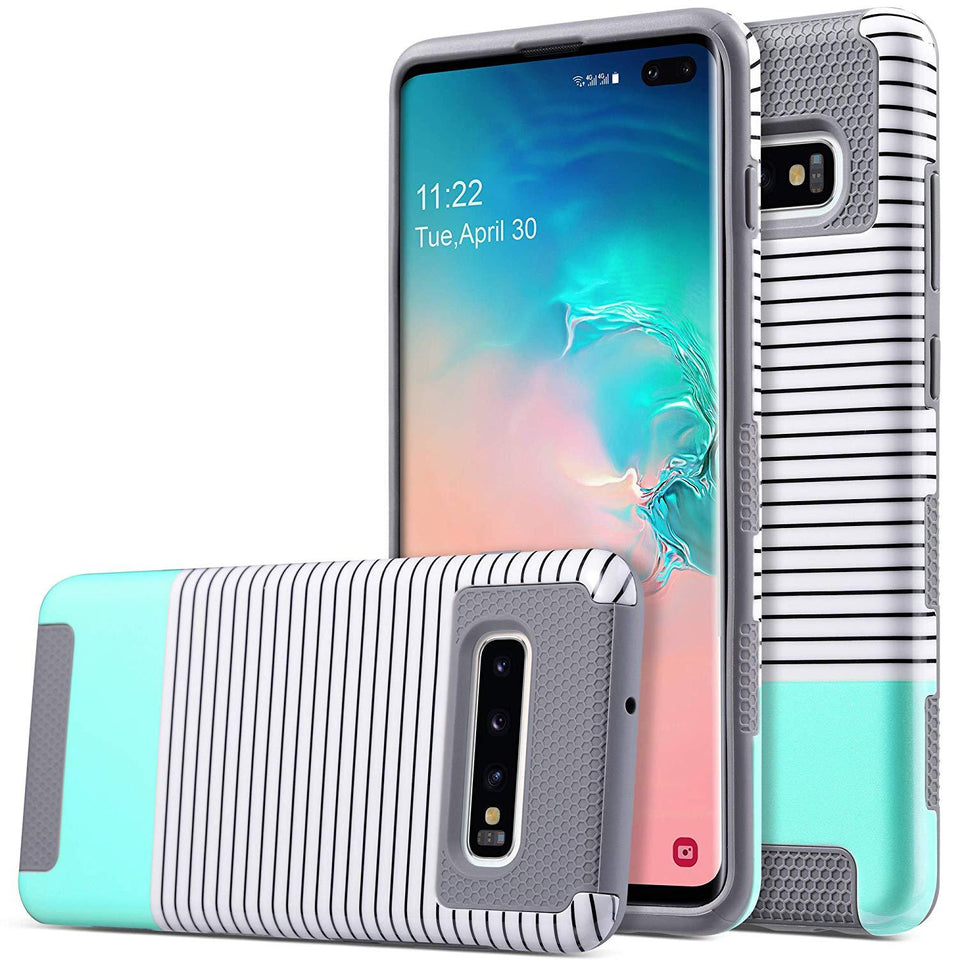ULAK Galaxy S10+ Plus Case - Mint Minimal Stripes