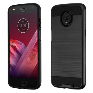 Brushed Hybrid Motorola moto z3 Case - Black/Black