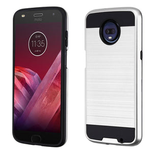 Brushed Hybrid Motorola moto z3 Case - Silver/Black