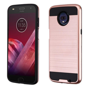 Brushed Hybrid Motorola moto z3 Case - Rose Gold/Black