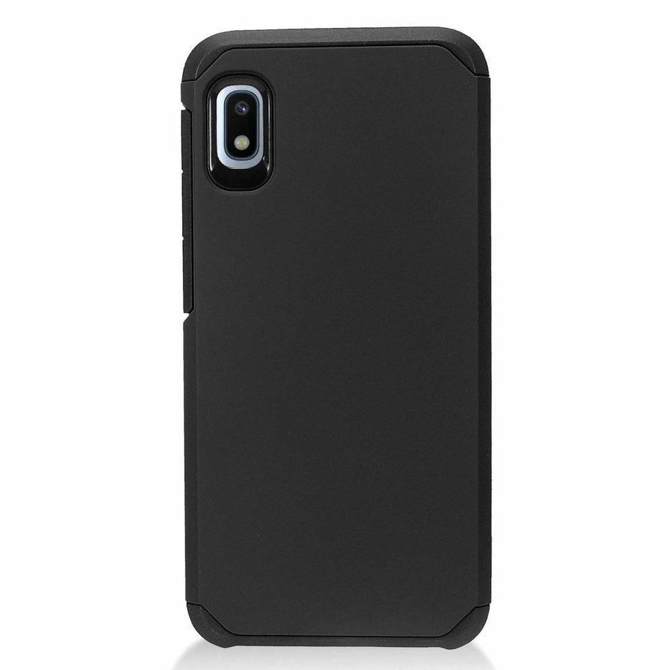 Dual Layer Hybrid Shock Proof Galaxy A10e Case - Black/Black