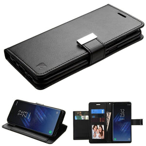 MYBAT Premium Leather Wallet Samsung Galaxy S8 Case - Black