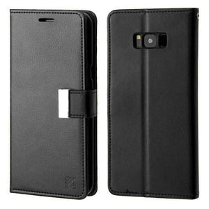 MYBAT Superial PU Leather Wallet Galaxy S8+ Plus Case - Black