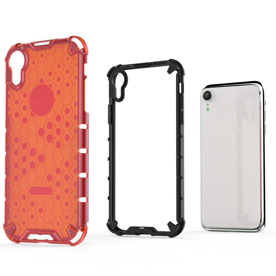 "Honeycomb Crystal Shockproof iPhone Xr (6.1"") Case - Red"