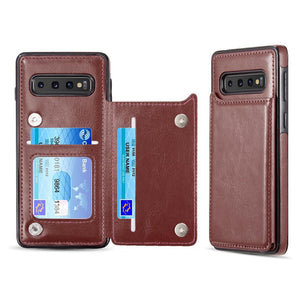 Smart-Flip Slim Back Wallet Galaxy S10 Case - Brown