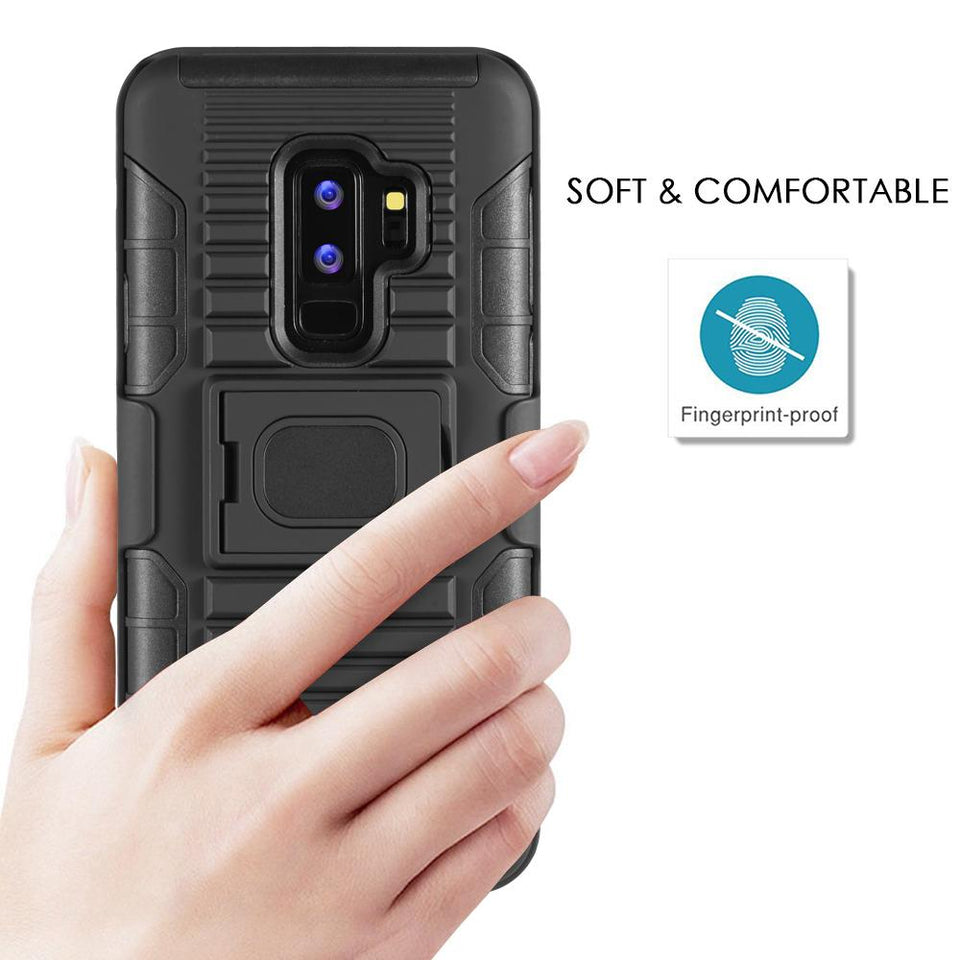 Dual Layer KickStand w/ Magnetic Plate Galaxy S9+ Plus Case Holster - Black