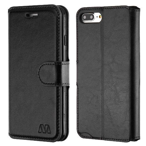 Book-Style Leather Folio iPhone 7 Plus / 8 Plus Wallet Case - Black