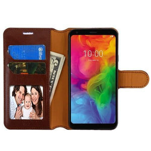 Book-Style Leather Wallet LG Q7 / Q7+ Plus Case - Brown