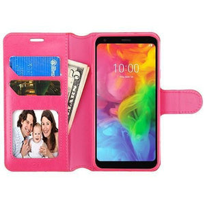 Book-Style Leather Wallet LG Q7 / Q7+ Plus Case - Hot Pink