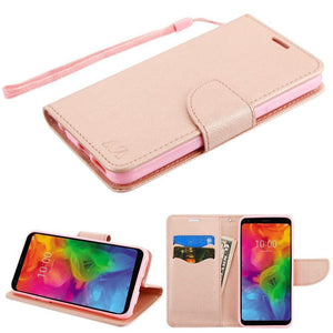 Book-Style Fancy Wallet LG Q7 / Q7+ Plus Case - Rose Gold/RG