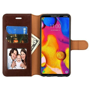MyJacket Leather Wallet LG V40 ThinQ Case - Brown