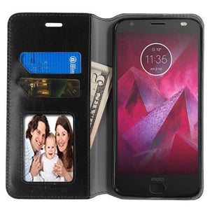 MYBAT Book-Style Leather Motorola Moto Z2 Force Wallet Case - Black