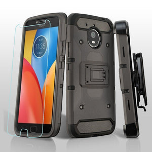 Rugged 3-in-1 Kinetic Holster Moto E4 Plus Case - GunMetal Gray