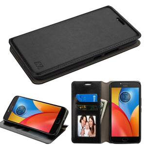 MyJacket Flip Stand Leather Wallet Moto E4 Plus Case - Black