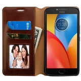 MyJacket Flip Stand Leather Wallet Moto E4 Plus Case - Brown