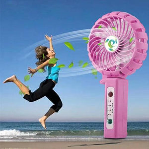 Portable USB rechargeable fan with phone charging function - Pink