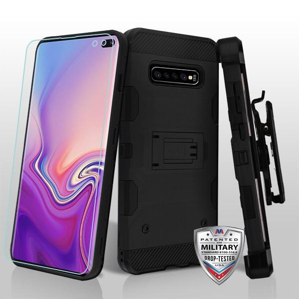 Military Grade Certified Storm Tank Galaxy S10+ Plus Case Holster - Black