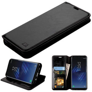 MYBAT Book-Style Leather Wallet Samsung Galaxy S8 Case - Black