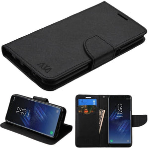 MYBAT Fancy Wallet Samsung Galaxy S8 Case - Black/Black