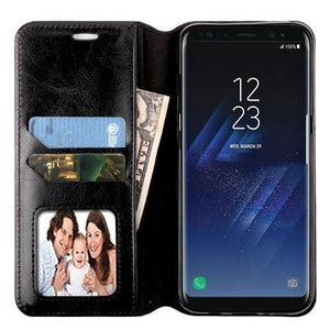 MYBAT Book-Style Leather Wallet Galaxy S8+ Plus Case - Black