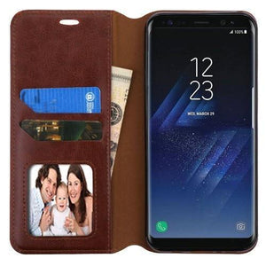 MYBAT Book-Style Leather Wallet Galaxy S8+ Plus Case - Brown