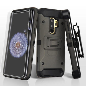 Kinetic Hybrid Galaxy S9+ Plus Case Holster Combo - Dark Grey/Black