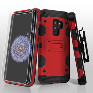 Military Grade Certified Storm Tank Galaxy S9+ Plus Case Holster - Red