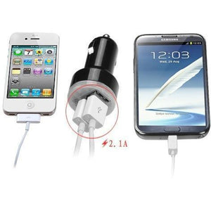Dual USB Output Universal Car Charger Adapter (2.1 A) - Black