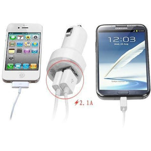 Dual USB Output Universal Car Charger Adapter (2.1 A) - White