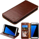 MYBAT Leather Galaxy J7 Prime / Galaxy Halo Wallet Case - Brown