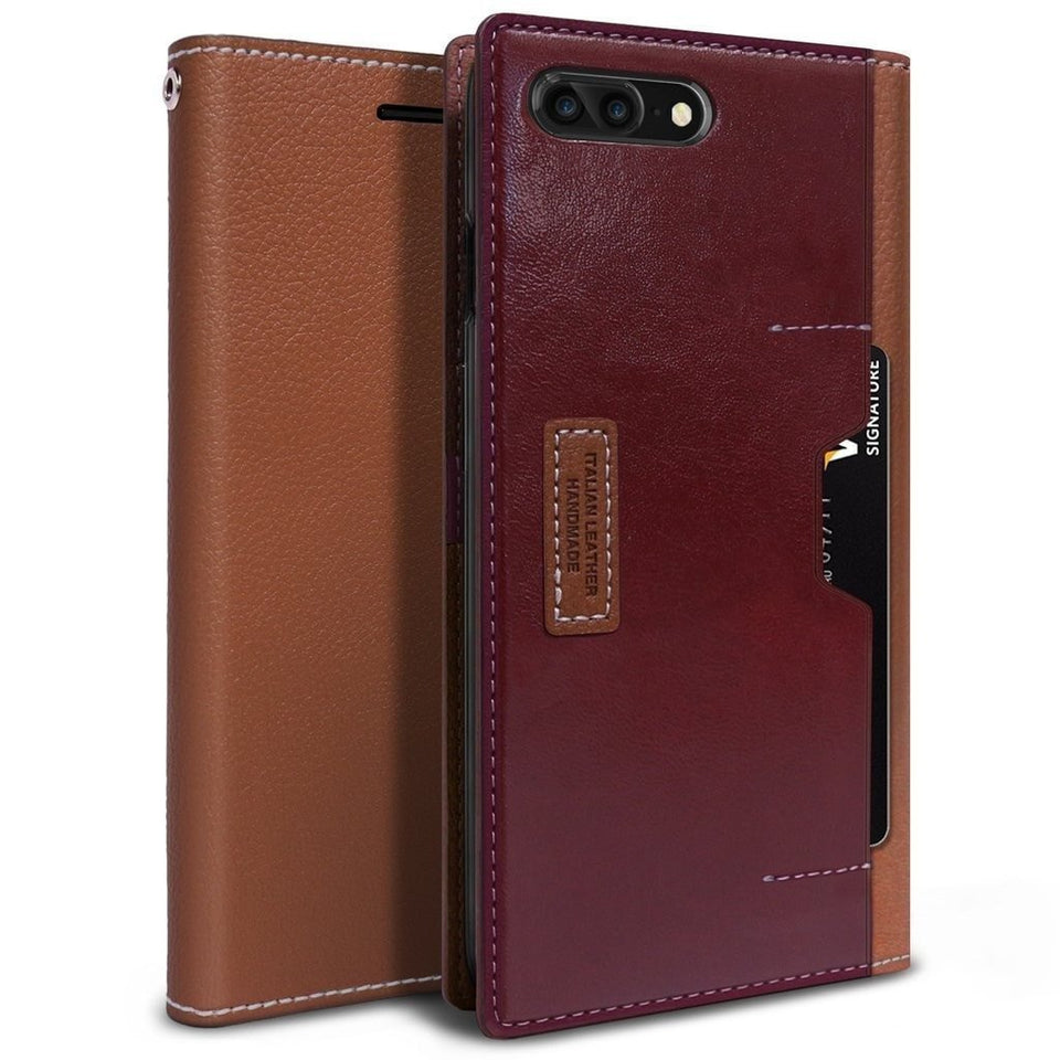 Obliq Italian Wallet iPhone 7 Plus / 8 Plus Case - Brown Burgundy
