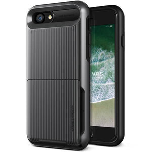 VRS Damda Folder iPhone 7 / 8 / SE (2020) Case - Waved Metallic Black