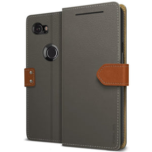Obliq Premium Fancy Wallet Google Pixel 2 XL Case - Black Gray/Brown