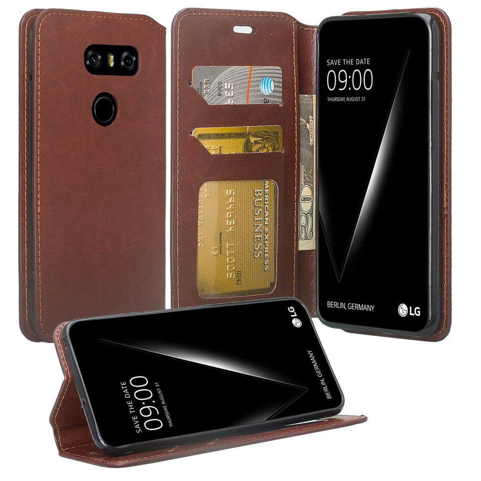 Book-Style Leather LG V30 / V35 ThinQ Wallet Case - Brown