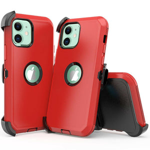 Tough Armor Defender iPhone 12 / 12 Pro Case w/ Holster - Red/Black