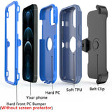 Tough Armor Defender iPhone 12 / 12 Pro Case w/ Holster - Navy/Blue