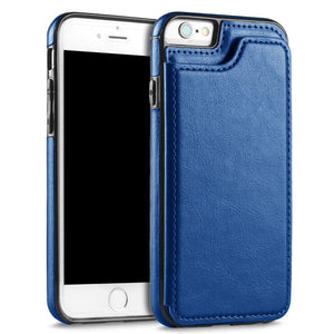 Slim Leather Back Wallet iPhone 7 Plus / 8 Plus Case - Blue