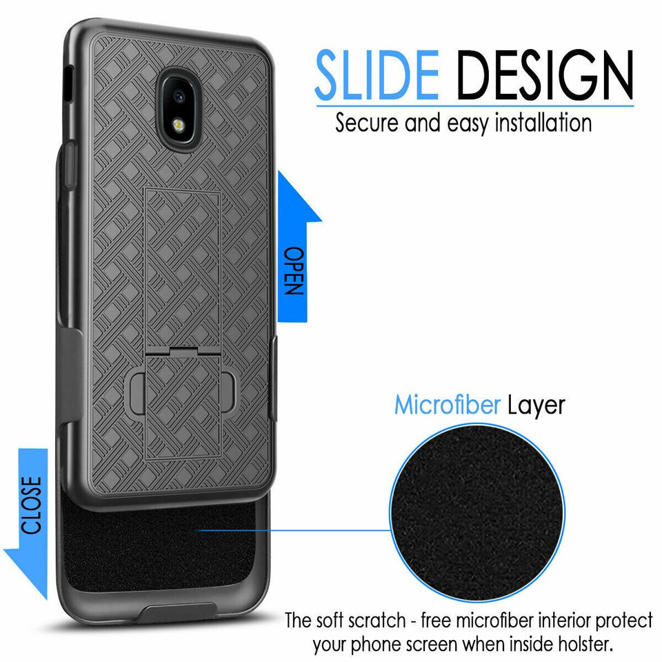 Slim Shell Kickstand Galaxy J7 2nd 2018 / Refine / Aura Case w/ Belt Clip Holster