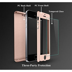 Full Body 360 Tempered Glass iPhone 5/5S/SE Case - Rose Gold