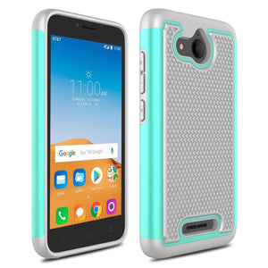 Grippy Shockproof Alcatel TETRA Case - Teal/Grey