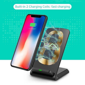 Qi Wireless Charging Pad Stand Fast Charging - Black