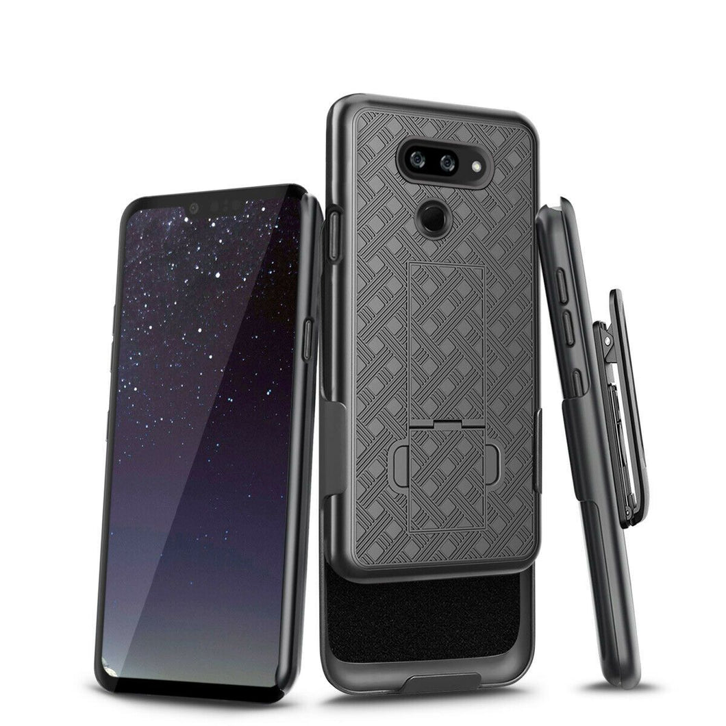 Slim Shell Kickstand LG G8 ThinQ Case w/ Belt Clip Holster OEM