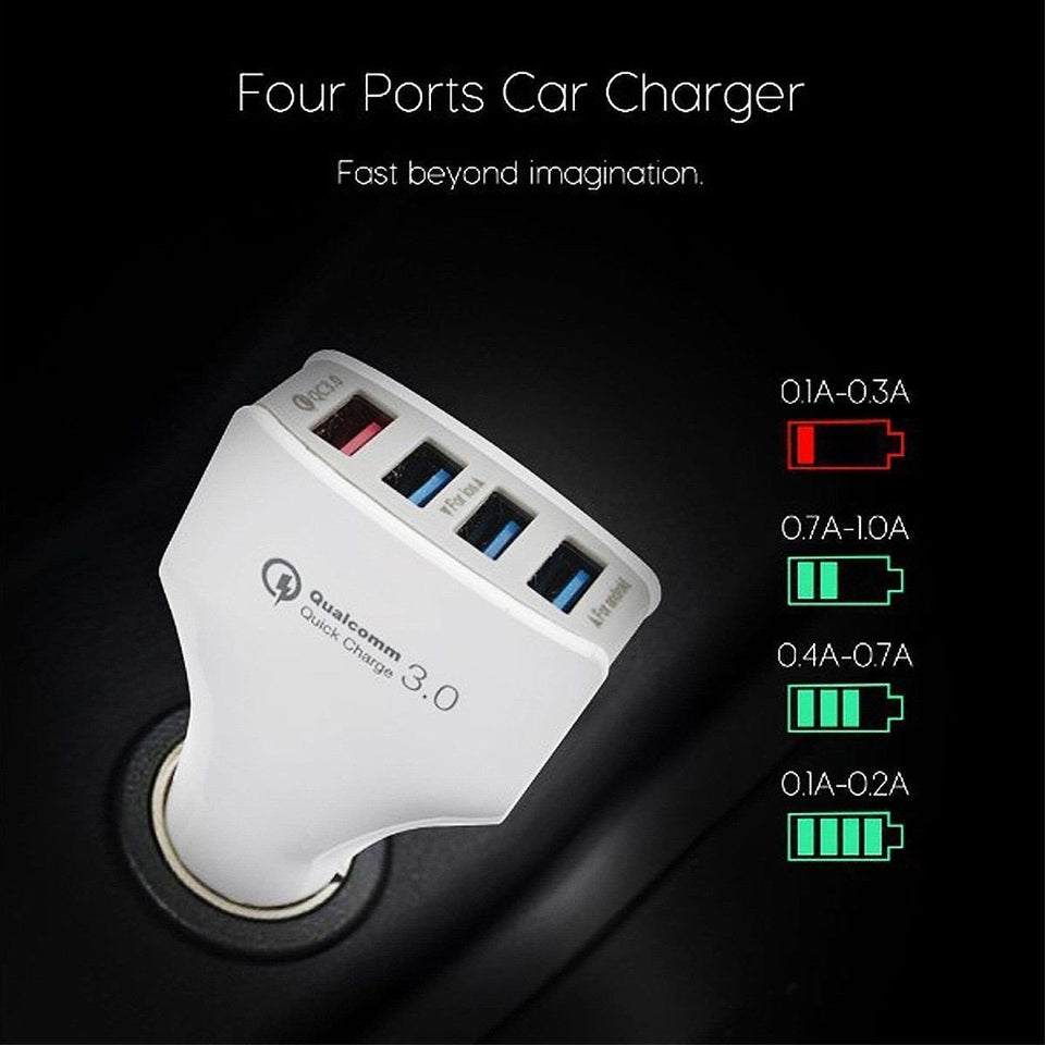 4 Port USB Car Charger Quick Charge 3.0 36W Power Portable