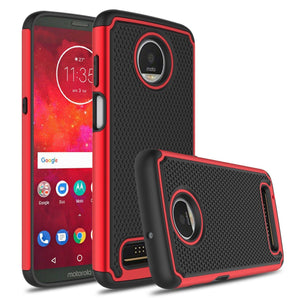 Grippy Hybrid Motorola moto z3 Case - Red