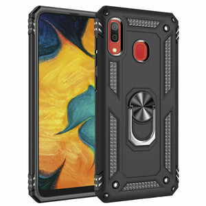 Magnetic Metal Ring Defender Galaxy A10e Case - Black