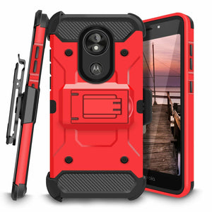 Rugged Armor Kickstand Motorola moto z3 Case Holster - Red